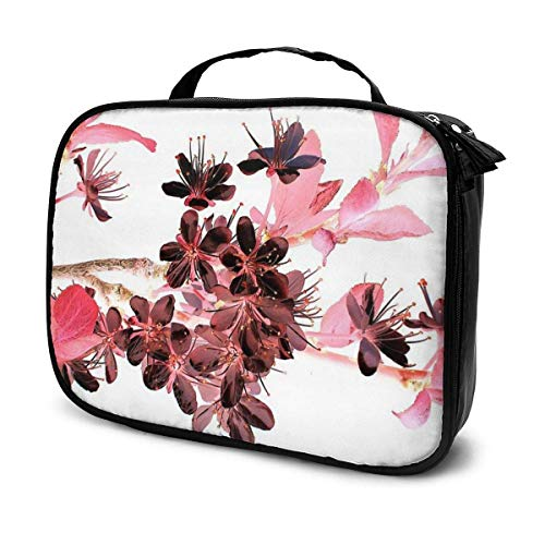 Pink Flowers Pattern New York City Portable Cosmetic Toiletry Bag Travel Makeup Pouch Waterproof Hanging Organizer Bag for Women Girl