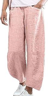 Jmwss QD Women's Wide Leg Casual Linen Straight Solid Palazzo Pant Pink X-Small