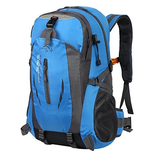 Hwjianfeng Damen Herren Trekkingrucksack Wanderrucksack Reisenrucksack Camping Backpack Daypack Rucksack Outdoor Sportrucksack 30L, Blau