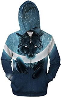 ff702e63 Ivory 3D Zip Hoodie Men Zipper Hoody Wolf Sweatshirt Printed Tracksuit  Casual Pullover Male Coat New
