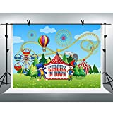 FHZON 9x6ft Circus Tent Backdrop Baby Shower Photography Background Roller Coaster Ferris Wheel Theme Party Wallpaper Photo Booth Prop BJYYFH184