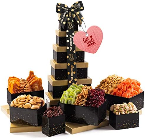 Get Well Soon Nut Dried Fruit Tower Gift Basket 12 Mix Valentine Food Arrangement Platter Care product image