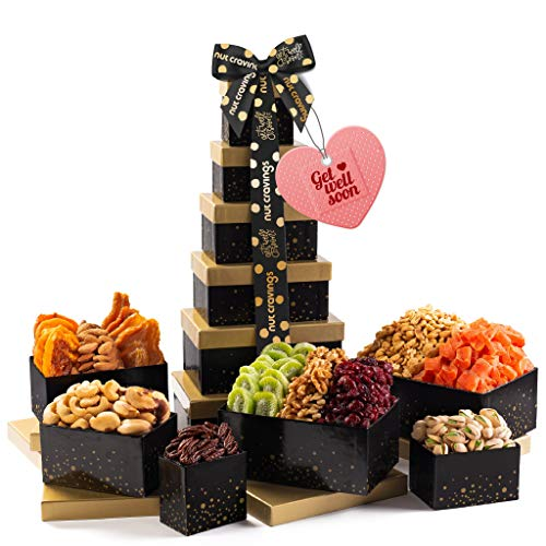 Get Well Soon Gift Basket, Nut & Dried Fruit Tower + Black Ribbon (12...