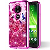 Motorola Moto G6 Play/G6 Forge/XT1922 Case, NEM Floating Liquid Glitter Sparkle Hearts/Stars Bling Luxury Cute TPU Shockproof Protective Case (Pink)