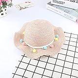 miaoyu Moda verano colorido borla bolas niños sombrero de paja sombrero de paja niños playa fotografía bebé accesorios sombrero sombrero sombrero sombrero sombrero visera visera (color: marfil)