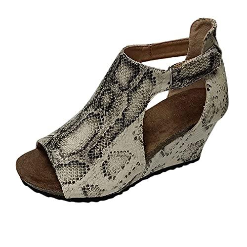 TEELONG Women Shoes Ladies Sandals Girls School Shoes Open Toe Slip On Platform Sandals Casual Roman Shoes Fashion Peep Toe Wedges Summer Boots Size 4.5UK Beige