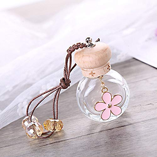 Ltjqsm Coche Colgante Flor Vidrio Coche retrovisor Espejo decoración Coche vacío Botella decoración joyería Regalo (Color Name : Pink)
