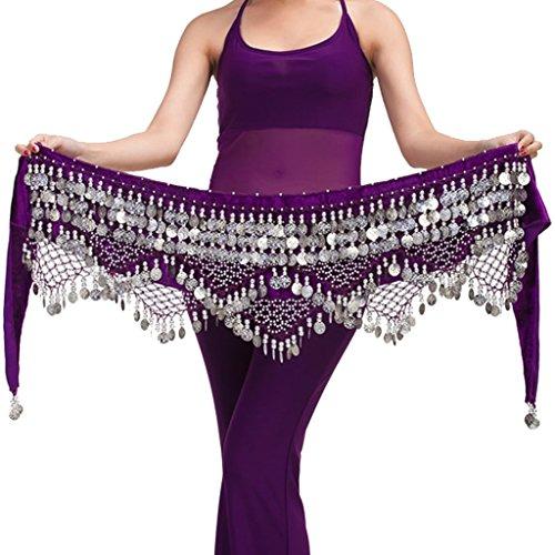 Wuchieal Women's Belly Dance Belt belly dance beginner Hip Scarf Warp skirt (One Size, Purple with Silver Coins)