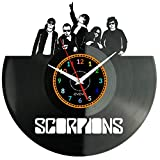 EVEVO Scorpions Reloj De Pared Vintage Accesorios De Decoración del Hogar Diseño Moderno Reloj De Vinilo Colgante Reloj De Pared Reloj Único 12' Idea de Regalo Creativo Vinilo Pared Reloj Scorpions