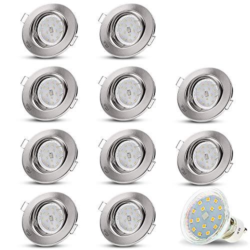 LED Einbaustrahler Schwenkbar DECORO Rund (Matt-Chrom) Inkl. 10 X 4W LED Warmweiss 230V IP20 Deckenstrahler Einbauleuchte Deckeneinbaustrahler Einbauspot Deckeneinbauleuchte Deckenspot Drehbar