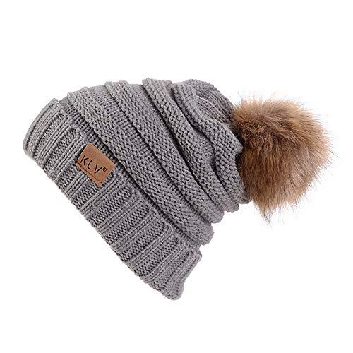 FELZ Hombres Mujeres Holgados Crochet cálido Invierno Lana de Punto Esqui Beanie cráneo Slouchy Gorras Sombrero Invierno Gorros Pompom Gorro de Punto para Invierno