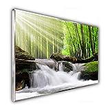 STEINFELD Heizsysteme Glas Bild Infrarotheizung Flächenheizkörper | Deutscher Hersteller | viele Motive 350-1200 Watt Rahmen silber/alu (500 Watt, 065 Wasserfall Wald)