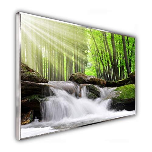 STEINFELD Heizsysteme® Glas Bild Infrarotheizung Flächenheizkörper | Deutscher Hersteller | viele Motive 350-1200 Watt Rahmen silber/alu (500 Watt, 065 Wasserfall Wald)