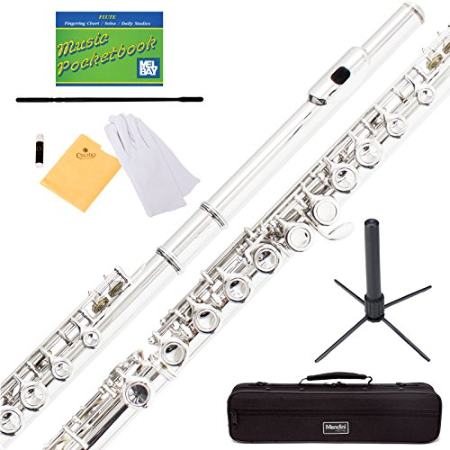 Mendini by Cecilio Silver Plated Closed Hole C Flute with Stand, 1 Year Warranty, Case, Cleaning Rod, Cloth, Joint Grease, and Gloves - MFE-S+SD+PB