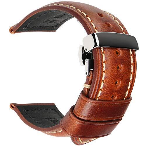 Correas de reloj de cuero 18 mm 20 mm 22 mm 24 mm Correa de reloj universal con hebilla de mariposa-Light_Brown_S_26mm