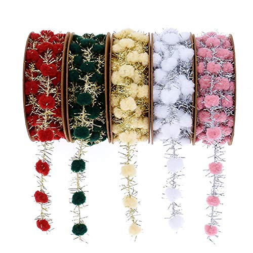 NUOMI 5 Pack Tinsel Wire Garland Bling Metallic Wire Gift Packaging String with Pom Pom Hanging Decoration for Wedding/Birthday/Party/Christmas Tree, DIY, Craft