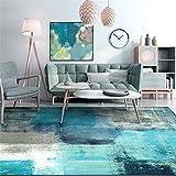 Alfombras Tacto Suave Alfombra Alfombra de Sala de Estar de diseño de Pintura al óleo de Arte Abstracto Blanco Gris Azul Diseño Moderno Piso Antiadherente Suelo Alfombras 160*230cm