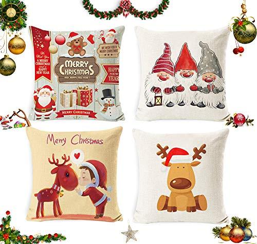 Sunshine smile 4 Stück Kissenbezug Weihnachten,Weihnachtskissenbezug,Kissenbezug Frohe Weihnachten,Wohnkultur Leinen Dekokissen,Weihnachten Kissenbezüge,Weihnachten Deko Kissenhülle 45x45cm(C)