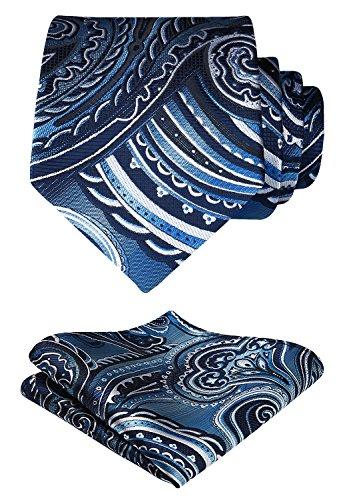 HISDERN Herren Krawatte Blumen Paisley Hochzeit Krawatte & Einstecktuch Set Marineblau und Grau