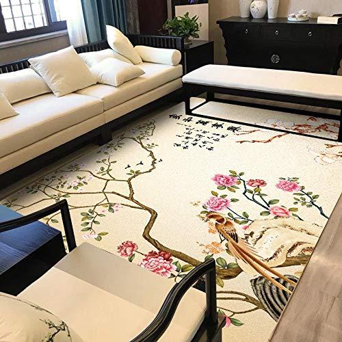 Antideslizante Home Grande Alfombra Ramas de Flores antiguasPara Dormitorio Sala De Estar Comedor Piso Fácil de Limpiar 100x160CM(3'3''x5'2'')