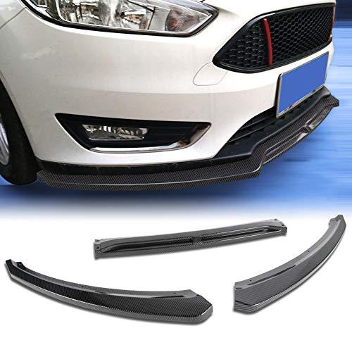 EPARTS 3 Pieces Carbon Fiber Style Look Front Bumper Lip Spoiler Splitter Body Kit Protection Fit For 2015-2018 Ford Focus S/SE/SEL/Titanium