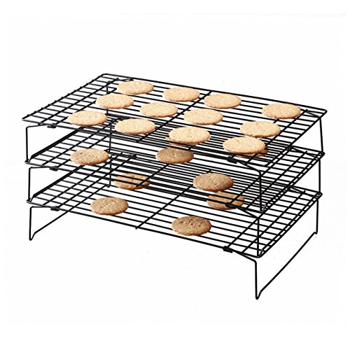Yamde 3-Tier Stackable Cooling Rack - Baking Rack, Chef Quality 13.5 inch x 9.5 inch - Tight-Grid Design, Oven Safe, Roasting Wire Rack Fits Half Sheet Baking Pan for Cookies, Cakes Oven-Safe for Coo