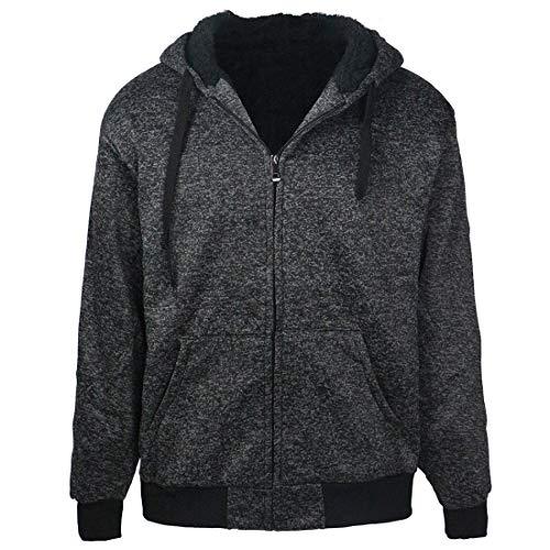 Marled Sherpa Lined Fleece Men Hoodies, Heavyweight Thick Full Zip Sweatshirts Winter Warm Jackets