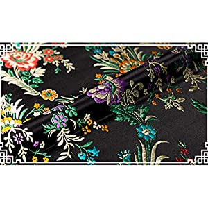 Silk Flower Arrangements SQINAA Satin Brocade Fabric Chinese Silk Dress Begonia Flower Satin Costume Cushion Cloth Print Exquisite Delicate Routing 75x50cm