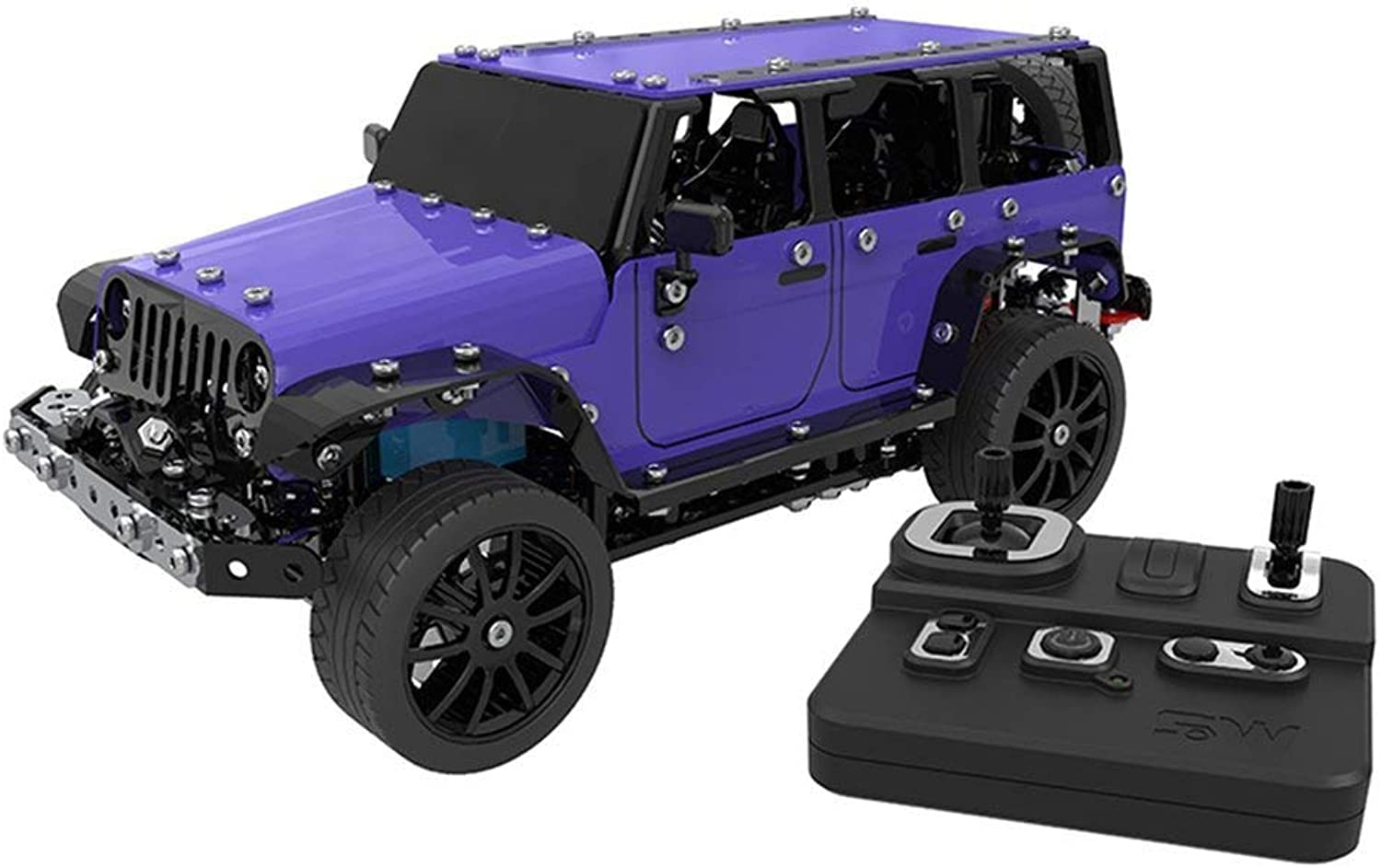 Generic World 2.4ghz 6 Channels USB Charging Building Block DIY Assembly Construction Remote Control Jeep OffRoad Toys Rc Car Toy bluee
