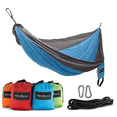 H?MECO Double and Single Camping Hammock, Lightweight Nylon Parachute Travel Hammocks