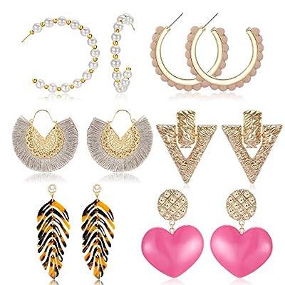 Set of 6 Fashion Jewelry Cute Boho Baroque Bohemian Large Long Geometric Tassel Drop Resin Acrylic Statement Leopard Hoop Stud Earrings for Women Girls (Style 1)