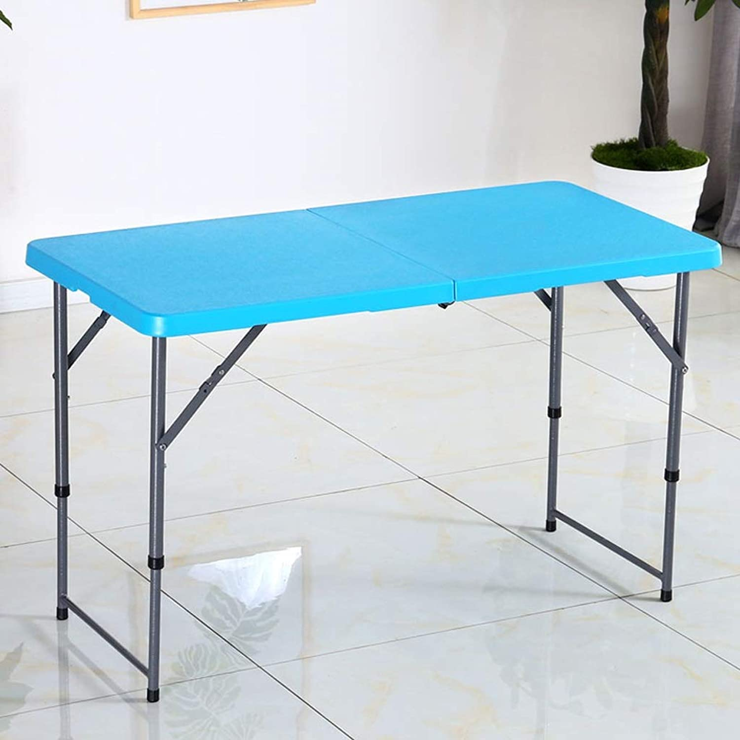 SHWSM Plastic Folding Table, Steel Tube Bracket Folding Table, Household Folding Table 120×60×75cm, Can Be Raised and Lowered, Two Heights Can Be Adjusted Folding Table (color   bluee)