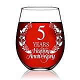Perfectinsoy 5 Years Happy Anniversary Wine Glass, 5th Anniversary Wedding Gift For Mom, Dad, Wife, Couple, Soulmate, Woman, Sister, Bday Party Decorations, Funny Vintage Aged To Perfection