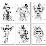LALELU-Prints | 6er Set Bilder Kinderzimmer Deko Mädchen |