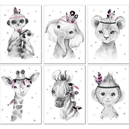 LALELU-Prints | A4 Bilder Kinderzimmer Deko Mädchen | Zauberhafte Indianer-Tiere Boho Feder rosa | Poster Babyzimmer | 6er Set Kinderbilder (DIN A4 ohne Rahmen)