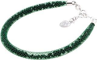Bracciale Verde in Argento 925 con Cristalli Luminosi Collezione Tennis Colorazione : Verde Scuro 4N