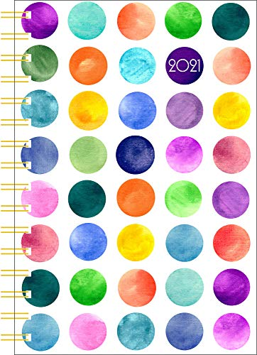 2021 Weekly to-Go 5x8 Wire-o Rainbow Watercolor Circles Plastic
