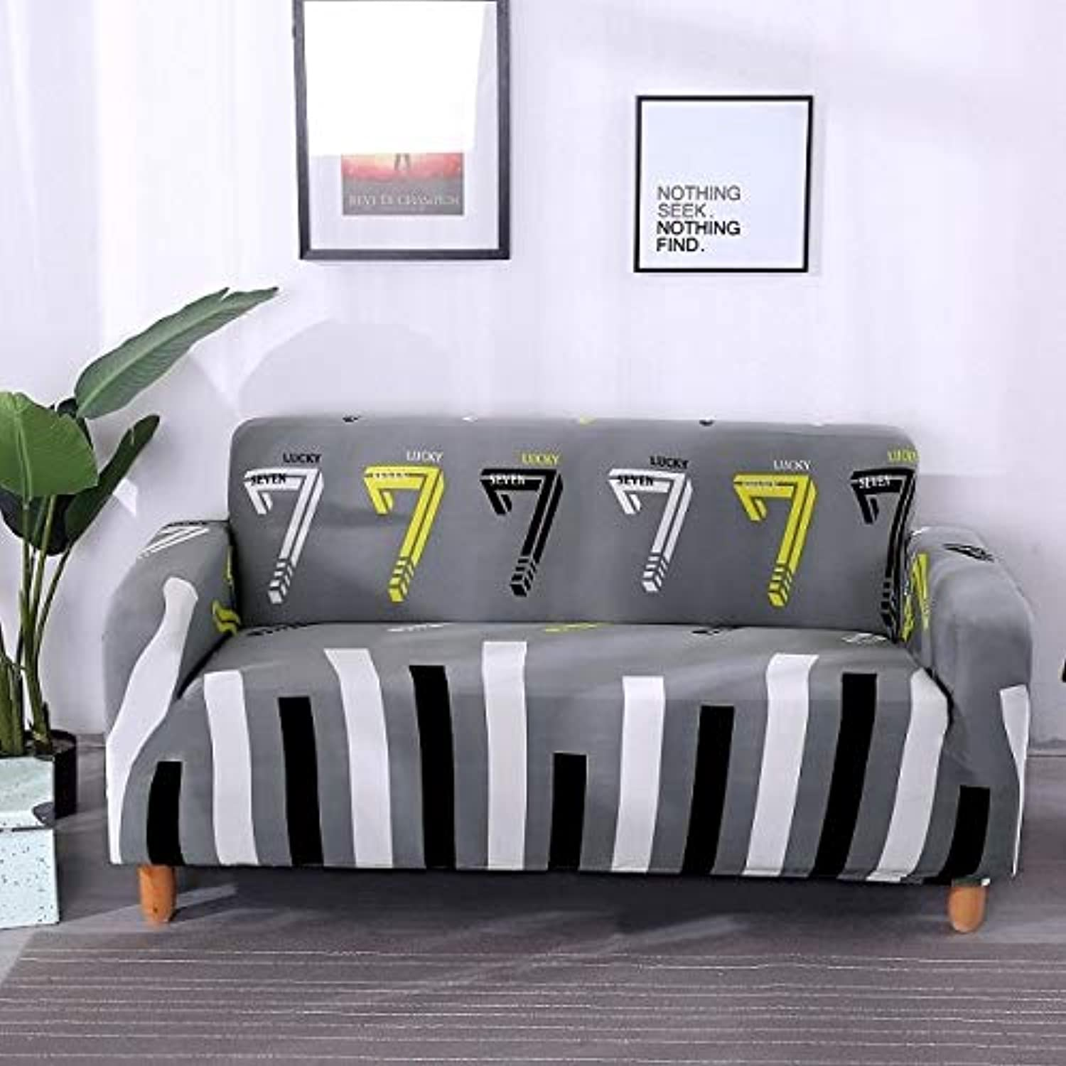 Elastic Geometric Sofa Cover Slipcovers All-Inclusive Couch Case for Different Shape Sofa High Quality Printed 1 2 3 4 Seats   12, Single seat 1pcs