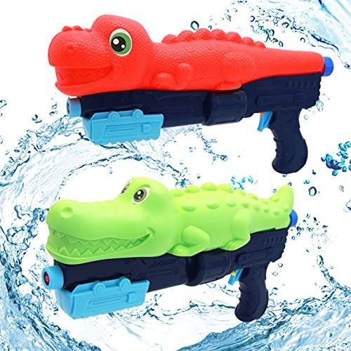 OUONDAD Dinosaur Water Gun 2 Pack Squirt Guns Water Pistols Soaker Blaster Large Capacity Dinosaur Crocodile Gift Swimming Pool Party Beach Sand Backyard Party Fighting Play