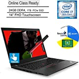 "Lenovo ThinkPad T480s Business Laptop Computer_ Intel Quad-Core i7-8650U_ 24GB DDR4_ 1TB PCIe SSD_ 14"" FHD Touchscreen_ Online Class Ready_ Windows 10 Pro_ BROAGE 3-in-1 Stylus 64GB Flash Drive"