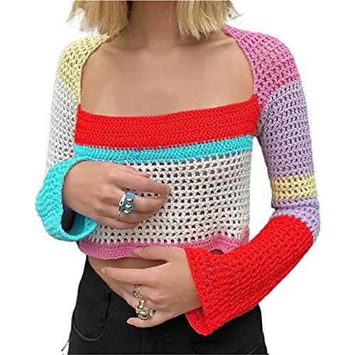 FUNWAVE Mujeres Y2k manga larga cosecha Top Crochet Knit Tie Dye ahueca hacia fuera camisa color block patchwork suéter suelto Tops Streetwear, Multicolor-1, L