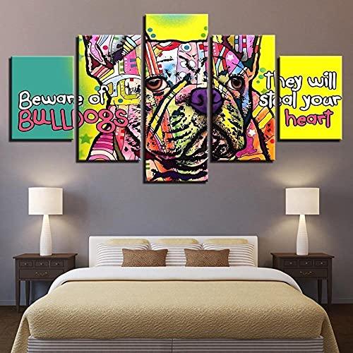 GSDFSD 5 Pannelli Wall Art Poster di Tema di Bulldog Francese Animale colorato per Soggiorno Decorazione Murale Camera da Letto Opera d'Arte Wall Quadri Immagine Personalizzata 80' W x 40' H
