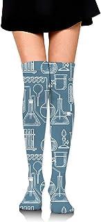 Uridy, Patrón de dibujo químico Calcetines hasta la rodilla para mujer Calcetines de novedad Medias de pierna de tubo divertido