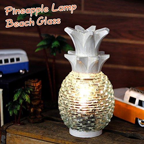 パイナップルランプ「BEACH GLASS/ビーチグラス」(ホワイト) /インテリア/照明/ハワイアン雑貨/