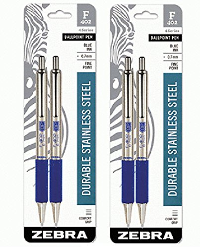Zebra F-402 Stainless Steel Retractable Ballpoint Pen, 0.7mm, Blue, 4-Pack (29222)