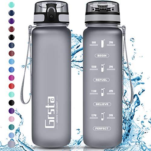 Grsta Trinkflasche, Sport Trinkflasche 500ml BPA-frei Sportflasche Kunststoff mit Filter Tritan Wasserflasche kohlensäure für Kinder, Fahrrad, Gym, Yoga, Outdoor, Camping