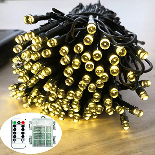 Battery Remote Control String Lights, Christmas Lights 100 LED Clear Mini Lights for Christmas Tree Wedding Indoor Outdoor Wreath Party Garden Thanksgiving Decoration, 36ft Waterproof (Warm White)
