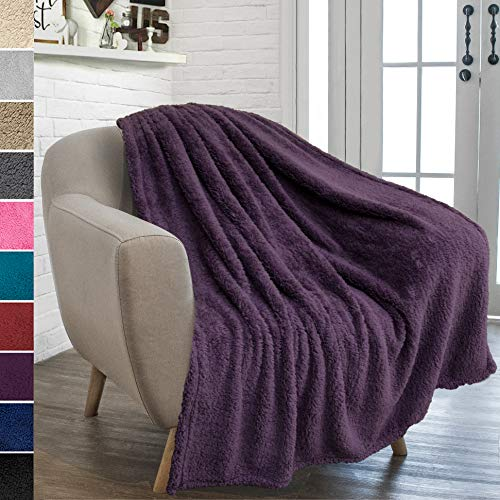 PAVILIA Plush Sherpa Throw Blanket for Couch Sofa | Fluffy Microfiber Fleece Throw | Soft, Fuzzy, Cozy, Shaggy, Lightweight | Solid Plum Purple Blanket | 50 x 60 Inches