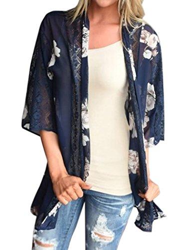 Chunoy Damen-Kimono mit Blumenmuster, kurzärmelig, Chiffon, Kimono - Blau - X-Groß