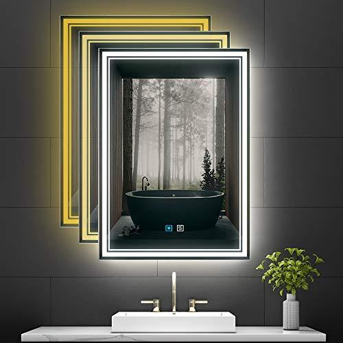 Tokvon® Monet specchio da bagno 50x70cm specchio da trucco specchio da parete con 3 colori chiari, protezione antiappannante, IP44, interruttore tattile, retroilluminato per il trucco